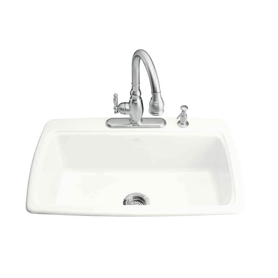 Shop kohler cape dory 22 in x 33 in white single basin cast iron drop in 3 hole residential - Cast iron sink weight ...