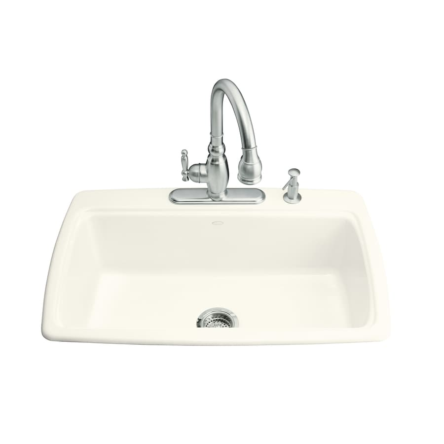 KOHLER Cape Dory 22-in x 33-in Biscuit Single-Basin Cast Iron Drop-in 4-Hole Residential Kitchen Sink