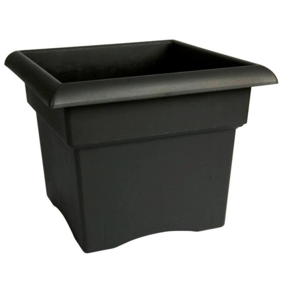 Home Leisure 11-in H x 14-in W x 14-in D Black Resin Pot