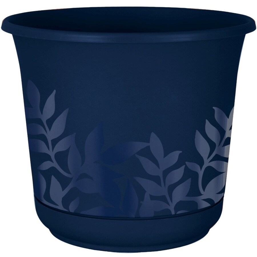 6-in x 5.5-in Navy Resin Self Watering Freesia Planter
