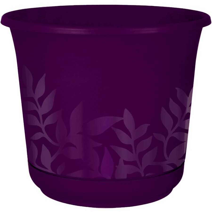 8-in x 7.38-in Violet Resin Self Watering Freesia Planter