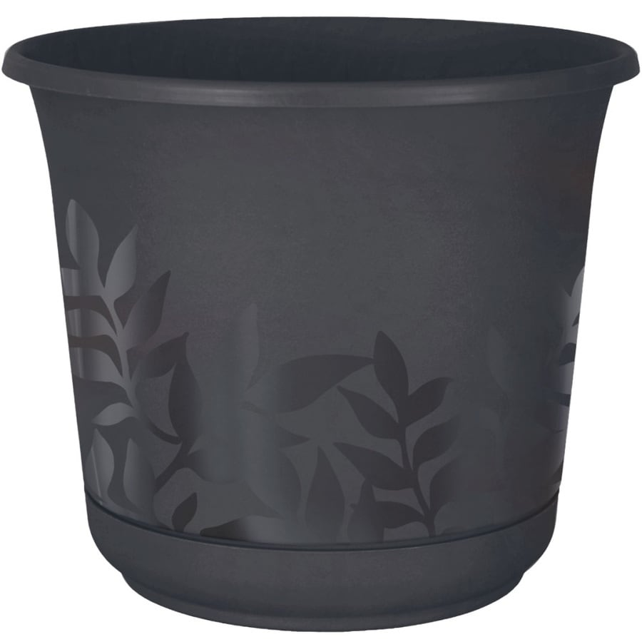 Fiskars 16-in x 14.5-in Charcoal Resin Self Watering Freesia Planter