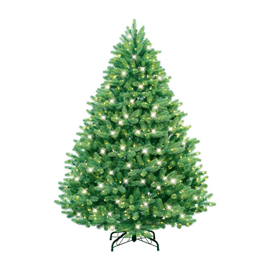 Real Christmas Trees Lowes: GE 7' Just Cut Spruce Artificial Christmas Tree With Clear