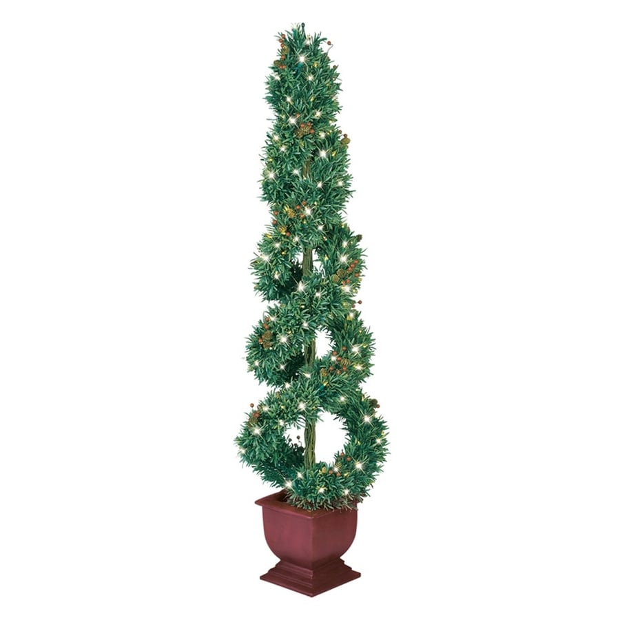 GE 5-1/2' Potted Just Cut Spiral Boxwood Artificial Tree with Clear Lights