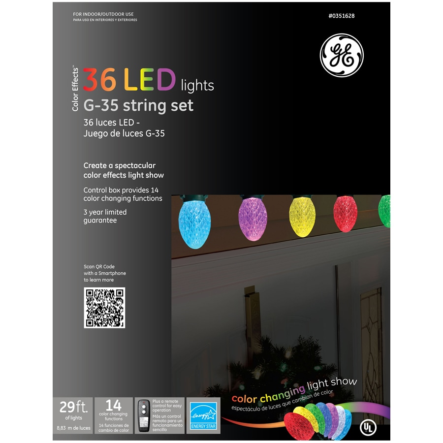 Shop GE 36-Count Multicolor Faceted LED Christmas String Lights (ENERGY STAR) at Lowes.com