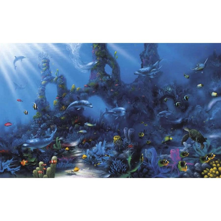 Shop environmental graphics dolphin 39 s paradise wall mural for Dolphin paradise wall mural