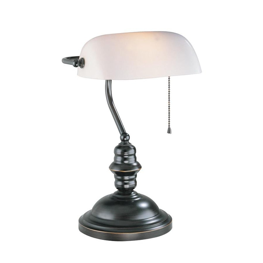 Lite Source 14.5-in Adjustable Bronze Bankers Desk Lamp with Glass Shade