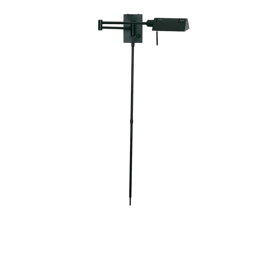 Lite Source 15-in H Black Swing-Arm Wall-Mounted Lamp with Metal Shade