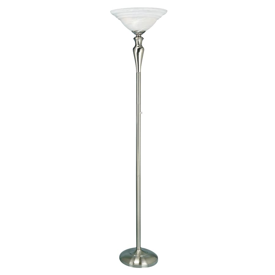 in polished steel torchiere floor lamp with glass shade at. Black Bedroom Furniture Sets. Home Design Ideas