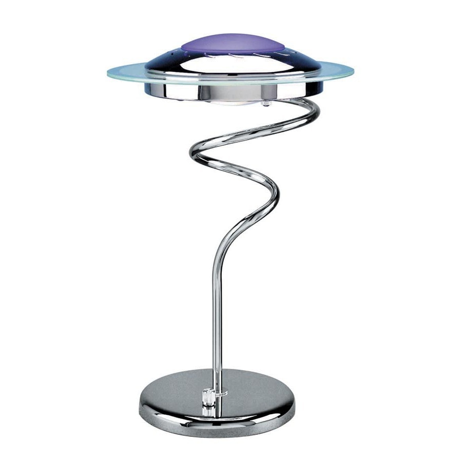 Lite Source 17-in Chrome Indoor Table Lamp with Glass Shade