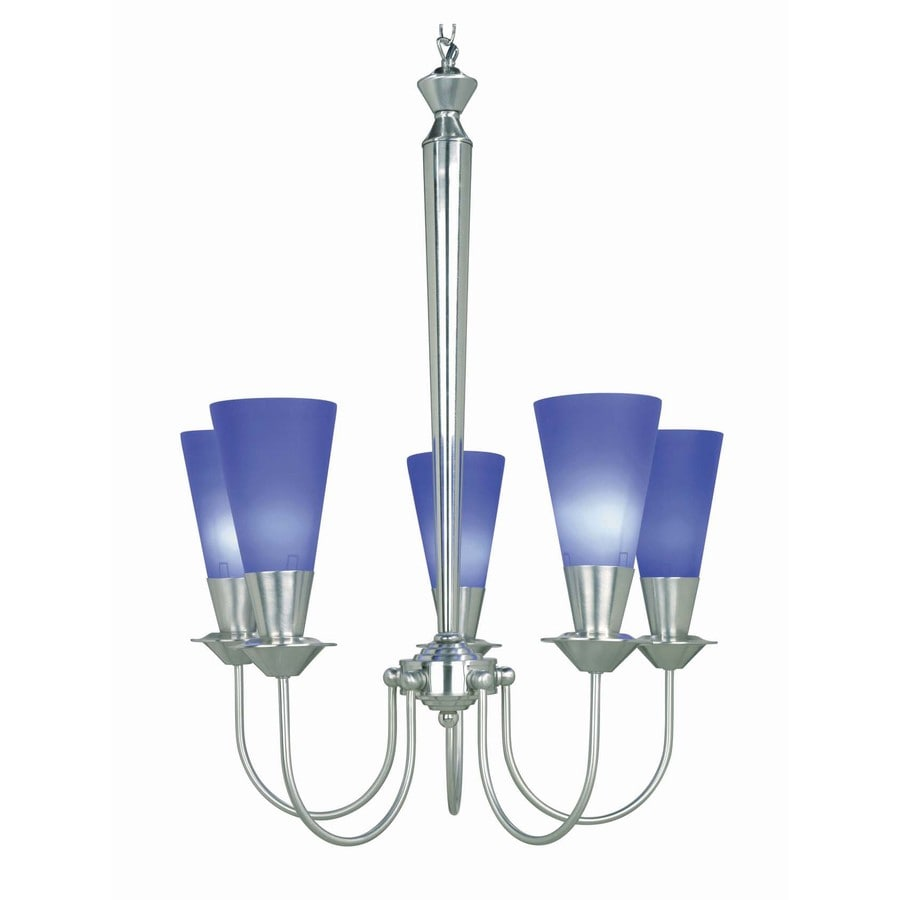 Lite Source Monarch 23-in 5-Light Steel-painted Craftsman Clear Glass Shaded Chandelier