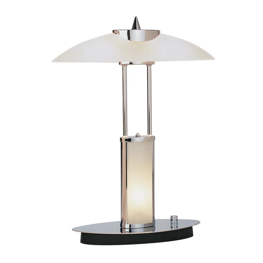 Lite Source 17.5-in Chrome Desk Lamp with Glass Shade