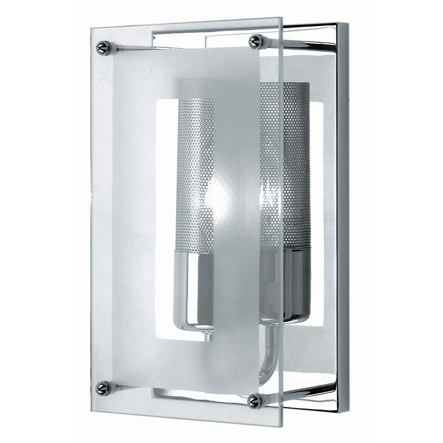 Lite Source 10-in H Chrome Wall-Mounted Lamp with Glass Shade