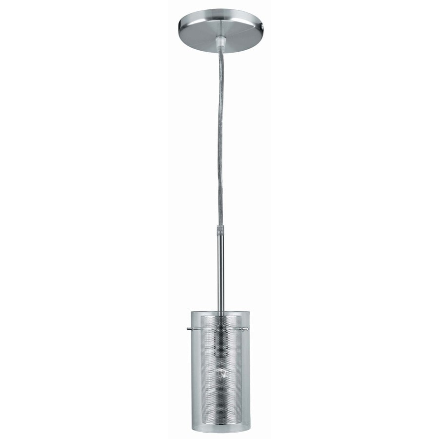 Lite Source Wick 5-in Polished Steel Industrial Single Clear Glass Cylinder Pendant