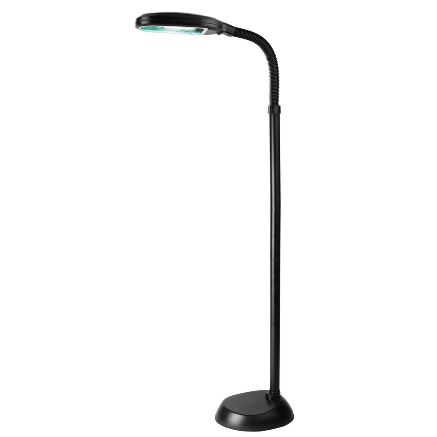 Lite Source 52-in Black Contemporary/Modern Shaded Floor Lamp Indoor Floor Lamp with Acrylic Shade