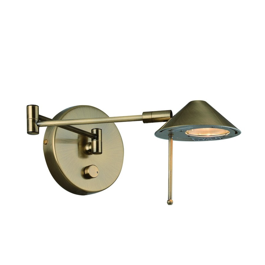 Lite Source 13-in H Antique Brass Swing-Arm Wall-Mounted Lamp with Metal Shade