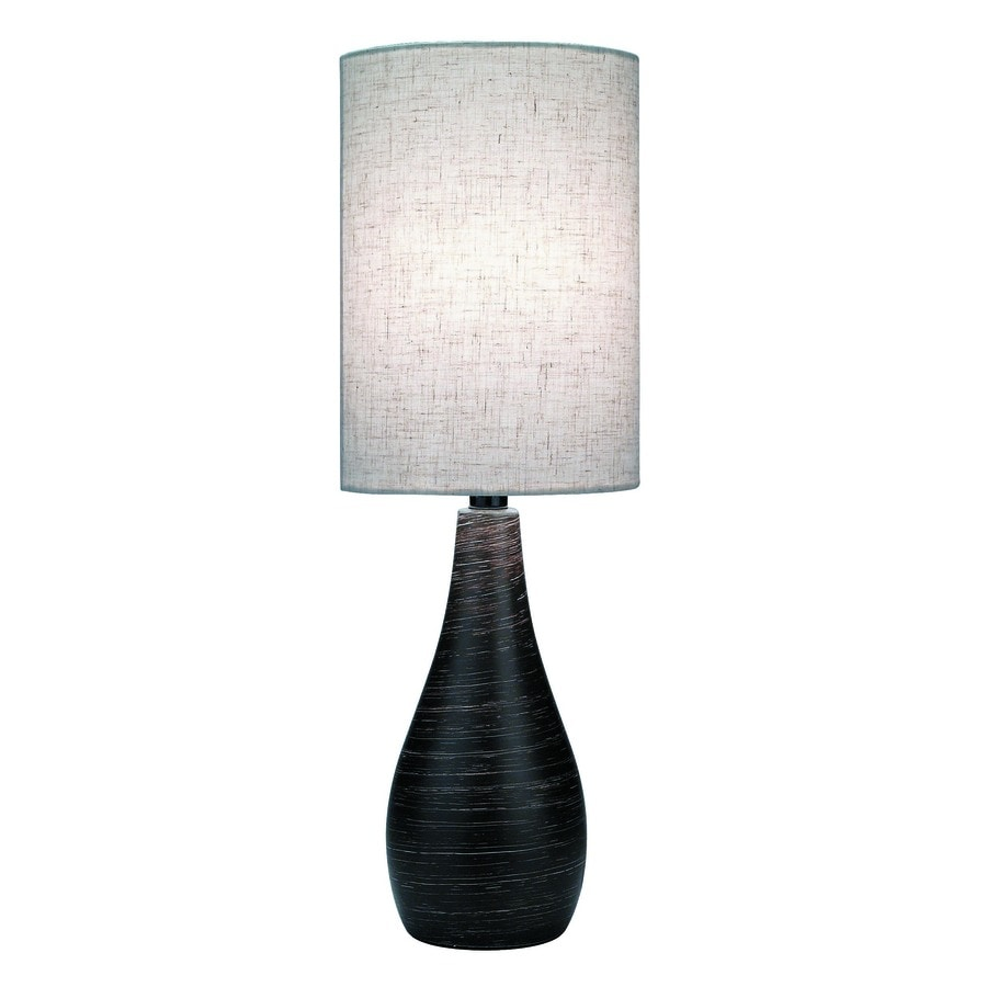 Lite Source Quatro 27.5-in Dark Bronze Standard Table Lamp with Fabric Shade