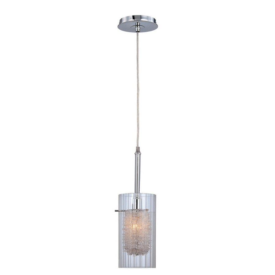 Lite Source Caldwell 5-in Chrome Industrial Single Clear Glass Cylinder Pendant