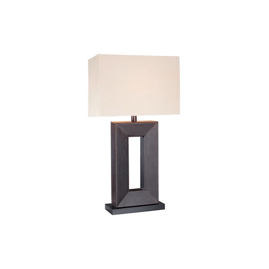 Lite Source 28.25-in 3-Way Switch Brown Indoor Table Lamp with Fabric Shade