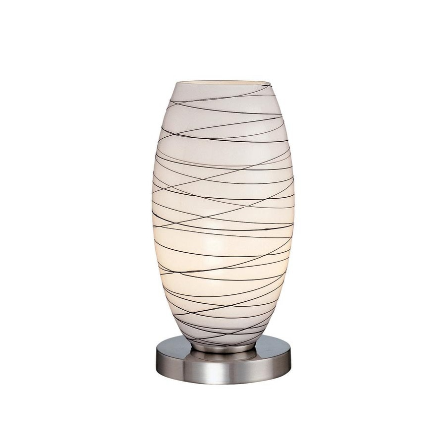 Lite Source 10.5-in Steel-Painted Standard Table Lamp with Glass Shade