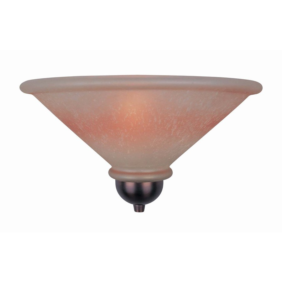 Lite Source 6-1/2-in H Bronze Wall-Mounted Lamp with Glass Shade