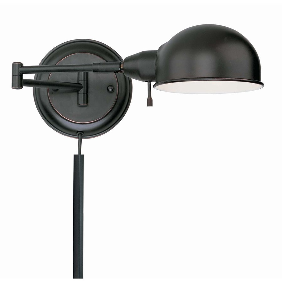 Lite Source 6.25-in H Copper Swing-Arm Wall-Mounted Lamp with Metal Shade