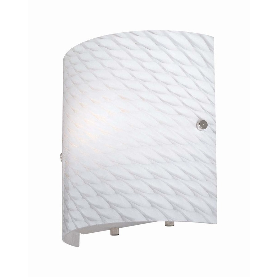 Lite Source 8-in H White Wall-Mounted Lamp with Glass Shade