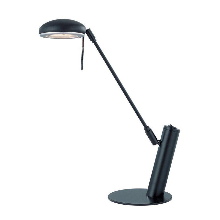 Lite Source 18.5-in Adjustable Black Desk Lamp with Metal Shade