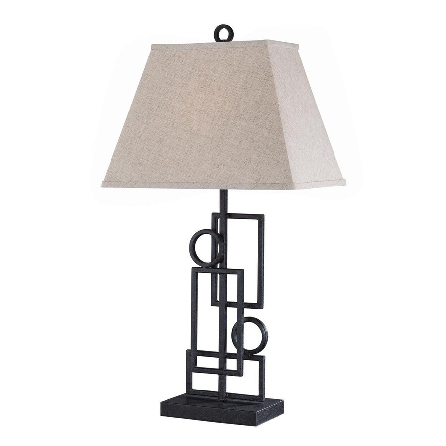 Lite Source 28-in 3-Way Switch Bronze Indoor Table Lamp with Fabric Shade
