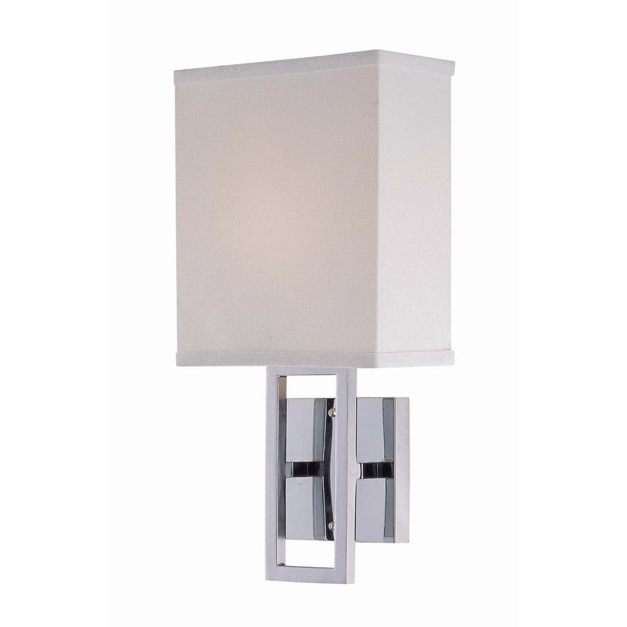 Lite Source 16-in H Chrome Wall-Mounted Lamp with Fabric Shade