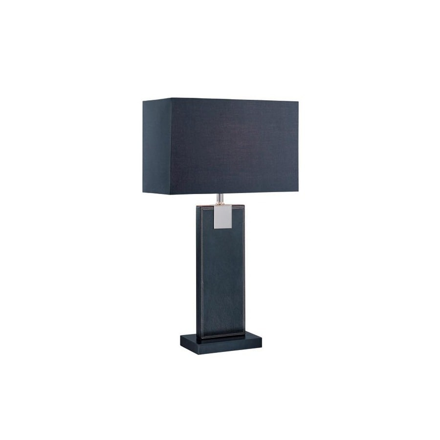 Lite Source 24.75-in Black Standard Table Lamp with Fabric Shade