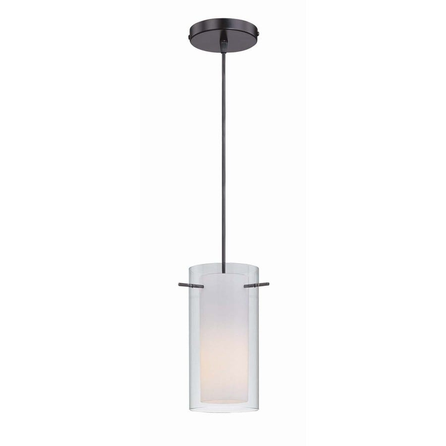 Lite Source Jaden 5-in Black/Brushed Industrial Single Textured Glass Cylinder Pendant