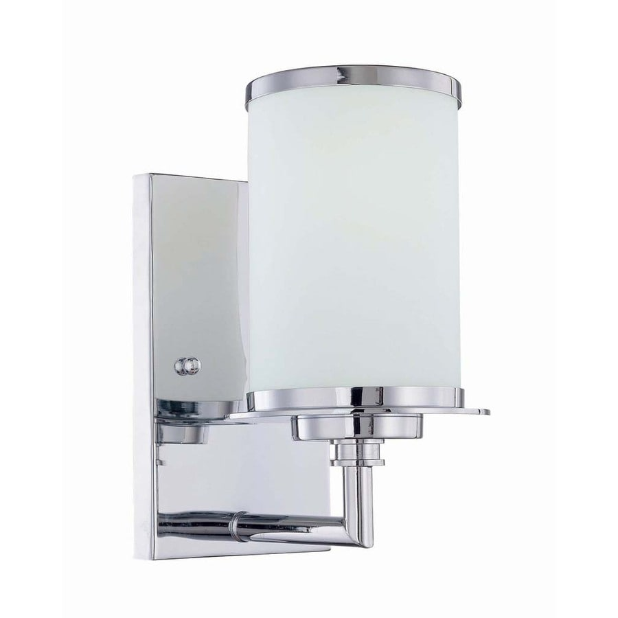 Lite Source 5-in H Chrome Wall-Mounted Lamp with Glass Shade