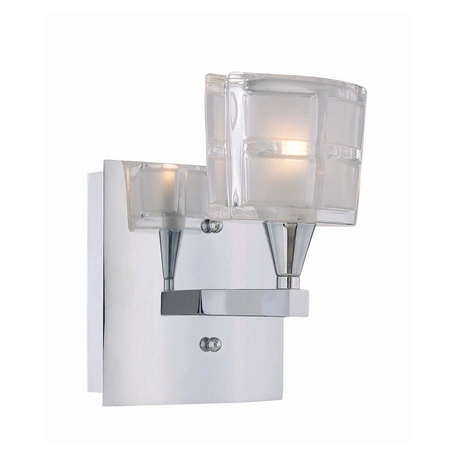 Lite Source 5-1/2-in H Chrome Wall-Mounted Lamp with Glass Shade
