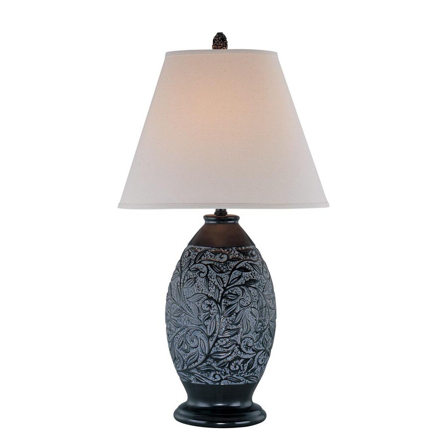 Lite Source 31-in 3-Way Bronze Indoor Table Lamp with Fabric Shade