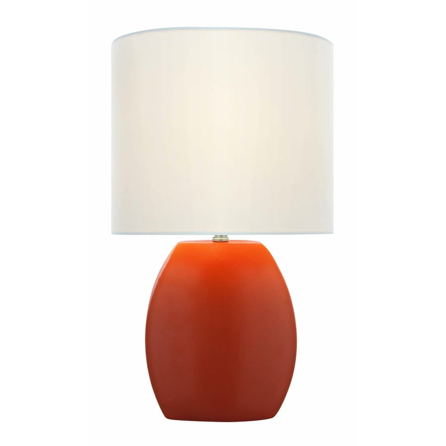 Lite Source Reiko 17-in Orange Indoor Table Lamp with Fabric Shade