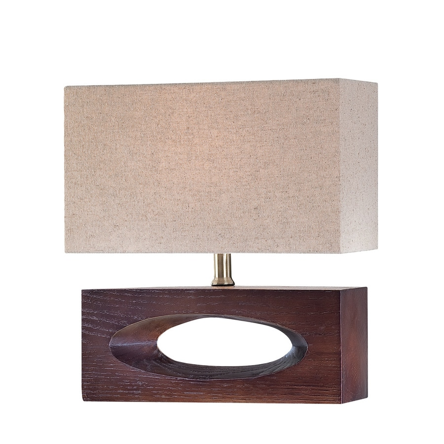 Lite Source Pierre 13.5-in Dark Walnut Indoor Table Lamp with Fabric Shade
