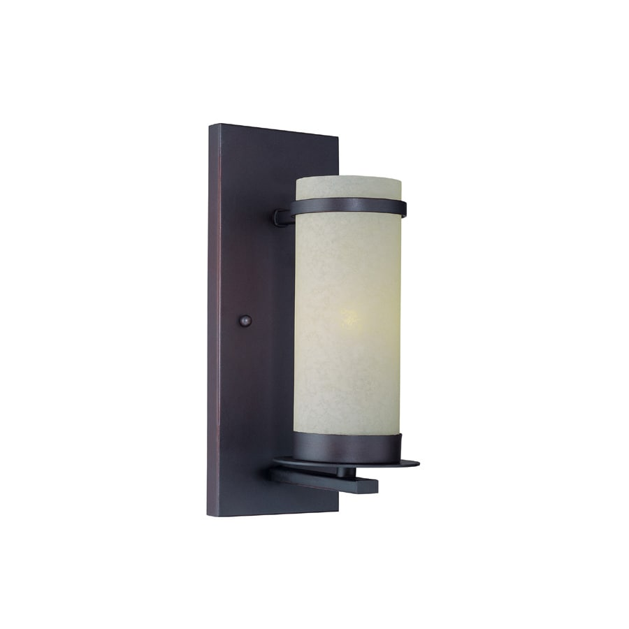 Lite Source 11.5-in H Bronze Wall-Mounted Lamp with Glass Shade