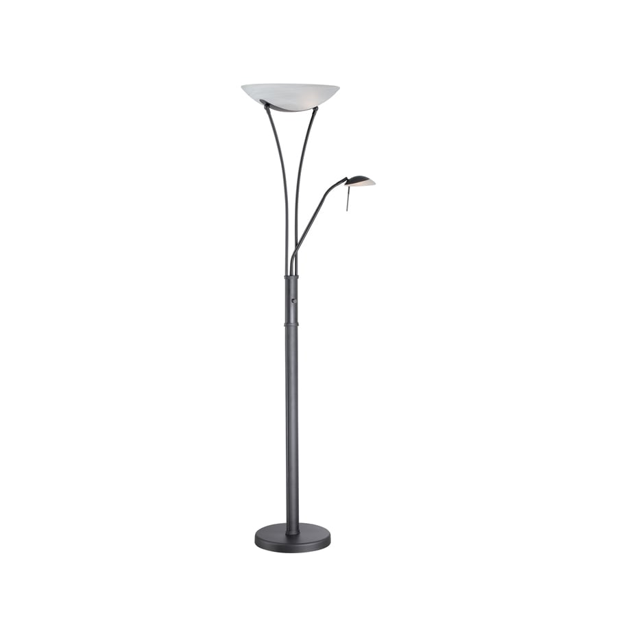 Lite Source 70.5-in 3-Way Black Modern 3-Way Shaded Floor Lamp Floor Lamp with Glass Shade