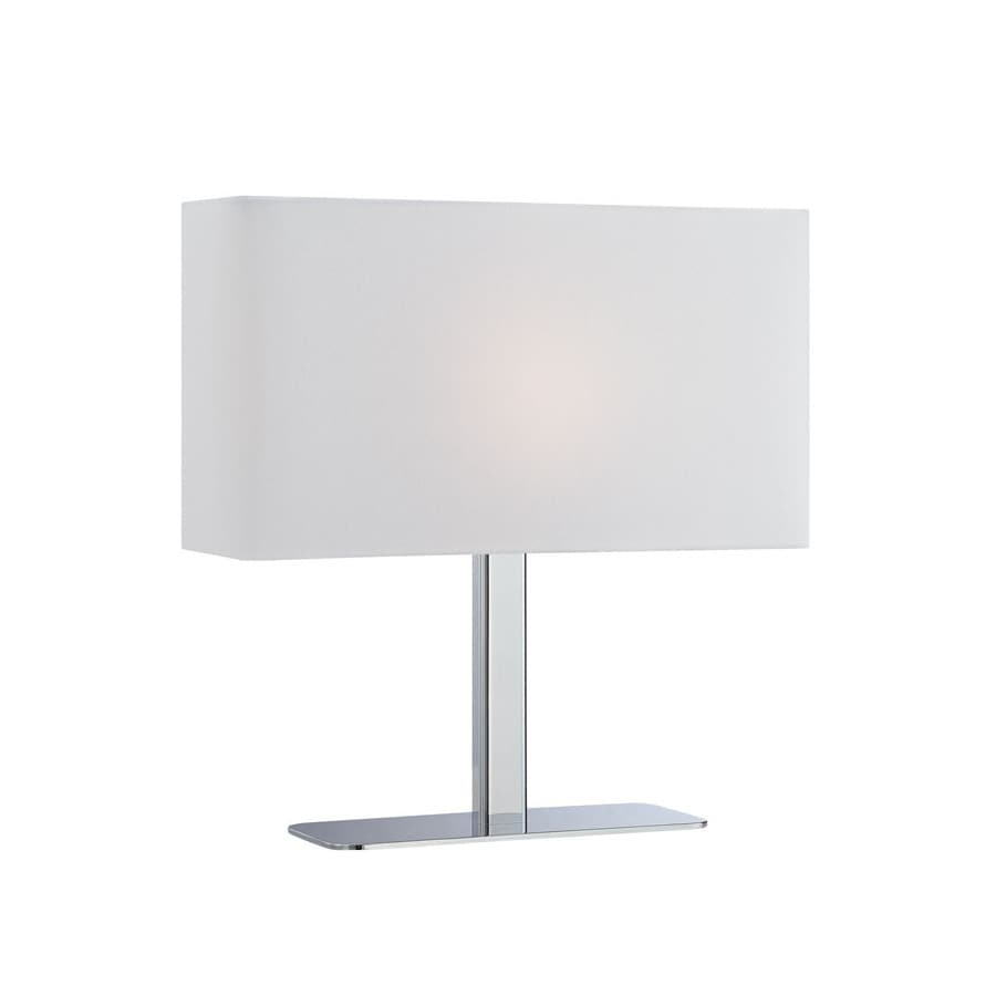 Lite Source 14.8-in Chrome Indoor Table Lamp with Fabric Shade