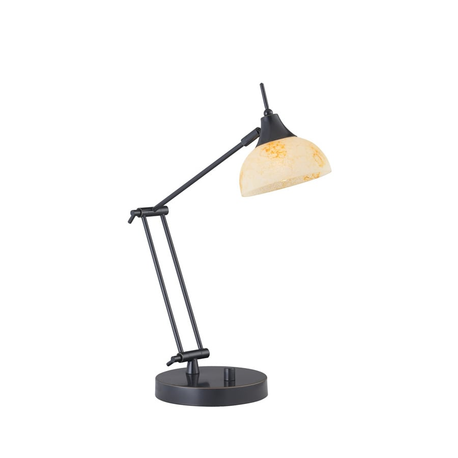 Lite Source 19-1/2-in Adjustable Bronze Desk Lamp with Glass Shade