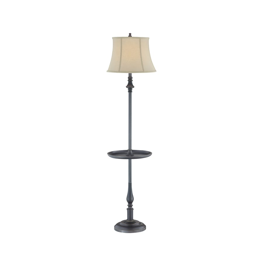 Lite Source 61-in Dark Bronze 3-Way Floor Lamp with Fabric Shade