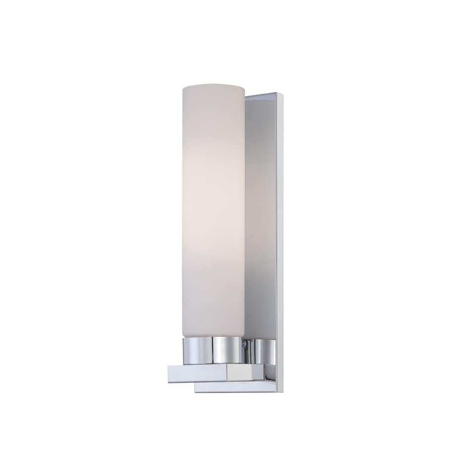 Lite Source 13.25-in H Chrome Wall-Mounted Lamp with Glass Shade