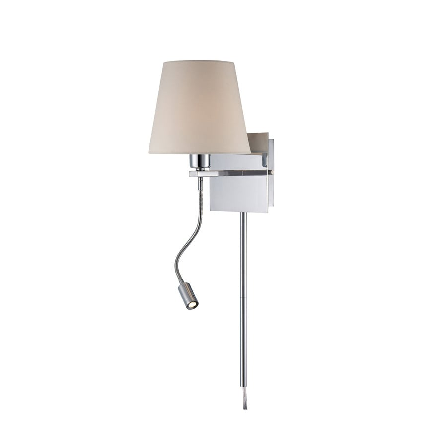 Lite Source 9-1/2-in H Chrome Wall-Mounted Lamp with Fabric Shade