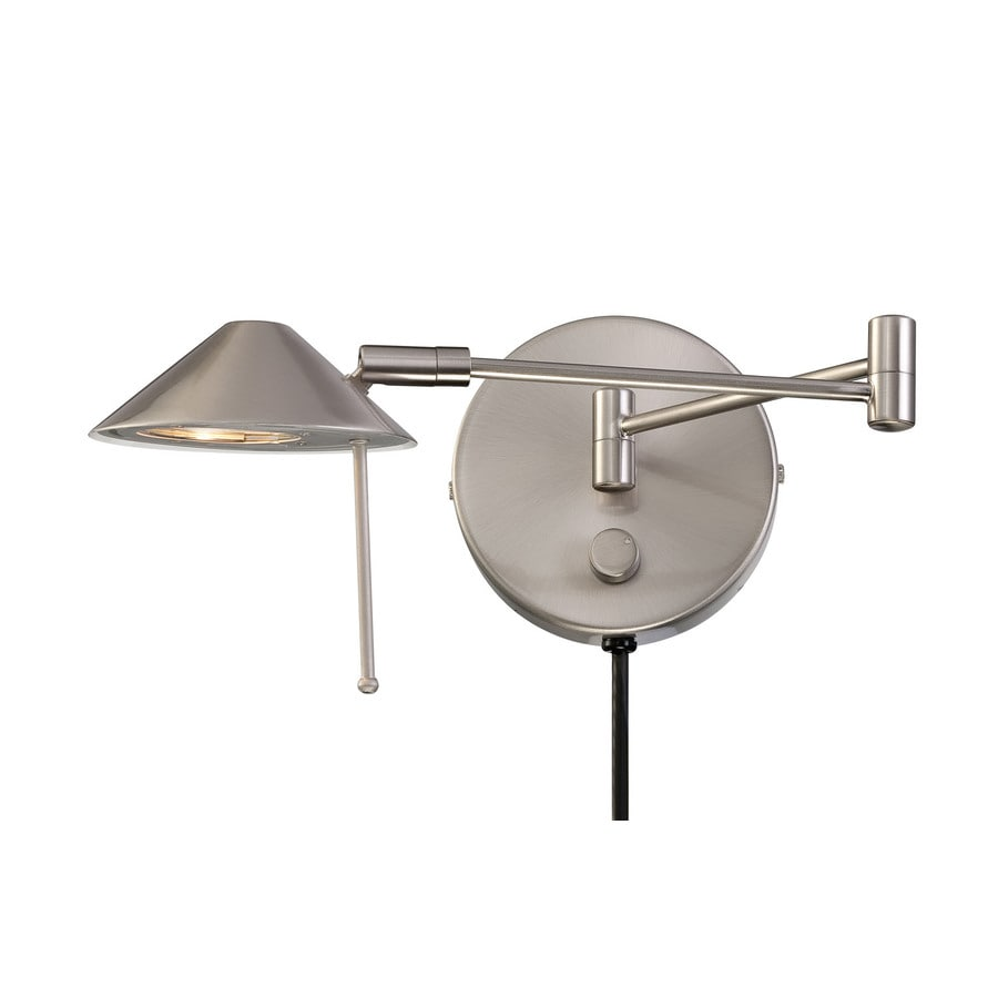Lite Source 13-in H Polished Steel Swing-Arm Casual/Transitional Wall-Mounted Lamp with Metal Shade