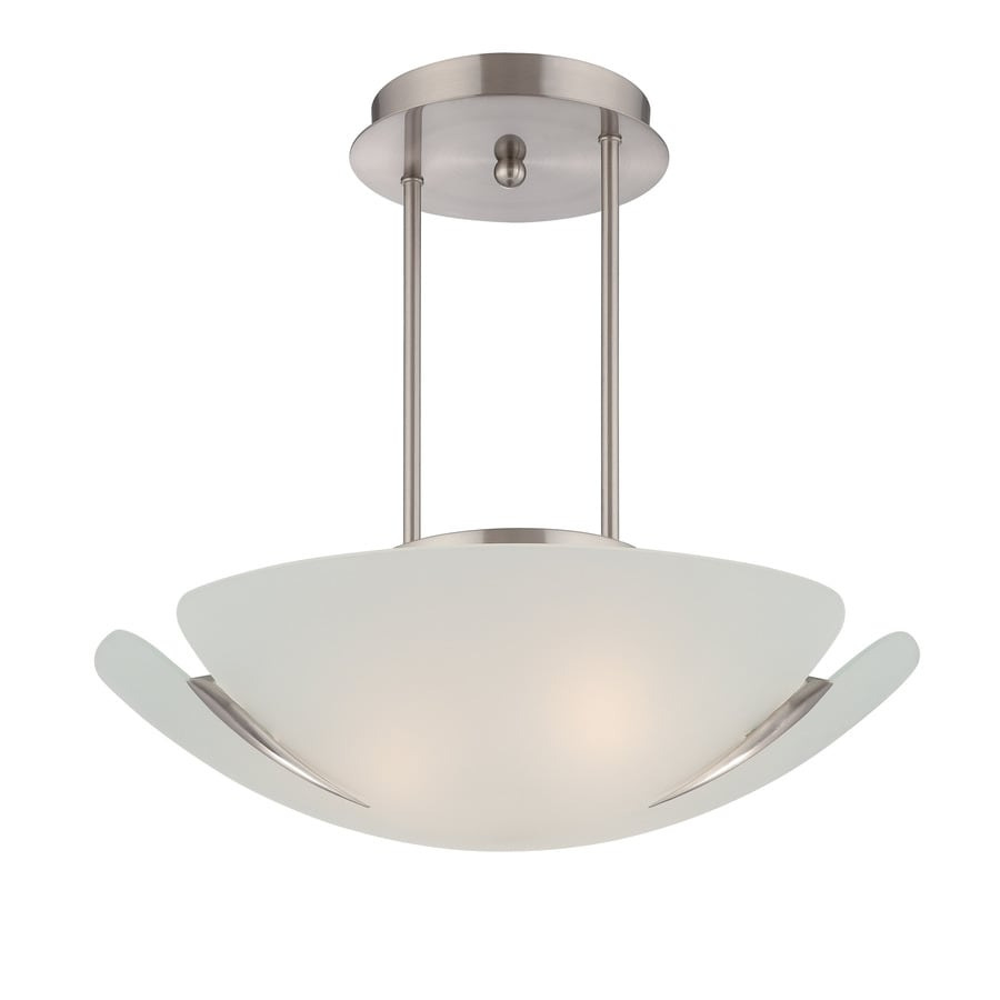 Lite Source Devona 16.75-in W Frosted Frosted Glass Semi-Flush Mount Light