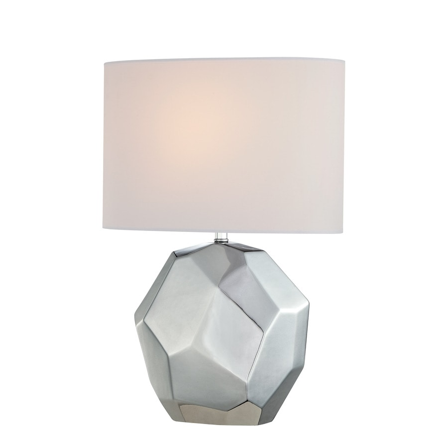 Lite Source Piera 20.25-in Chrome Standard Table Lamp with Fabric Shade