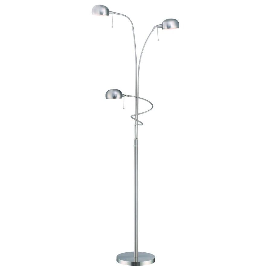 lite source denzel 80 5 in polished steel 3 way multi head floor lamp with metal shade at. Black Bedroom Furniture Sets. Home Design Ideas