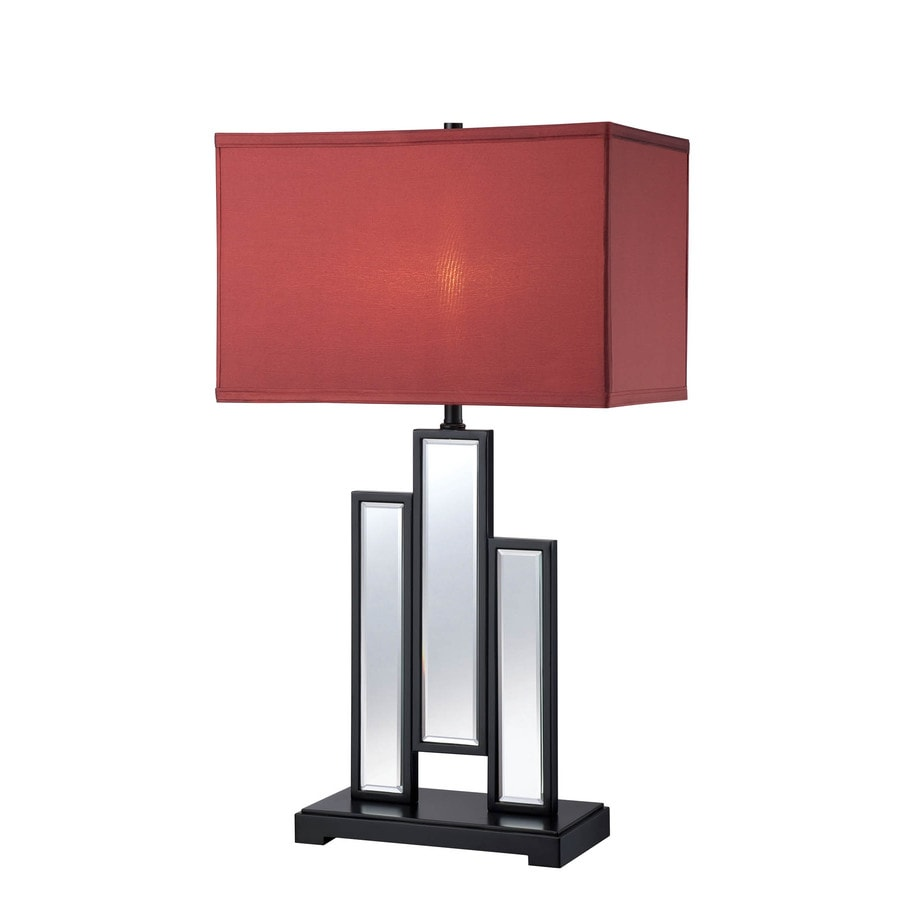 Shop Lite Source Specchio 30 In 3 Way Switch Black Indoor Table Lamp Three Red With Fabric