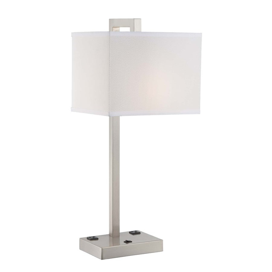 Lite Source Contento 27-in Polished Steel Indoor Table Lamp with Fabric Shade